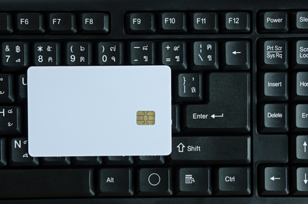 smart card: Blank Smart card close-up on keyboard