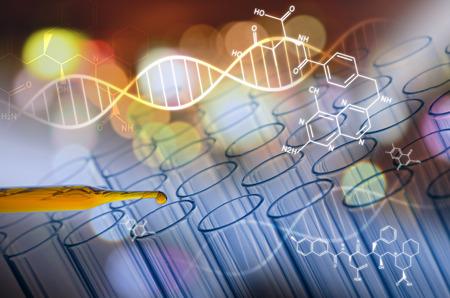 experimento: tubo de ensayo de laboratorio científico en el tono futuro