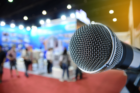events: microphone with blurred event background