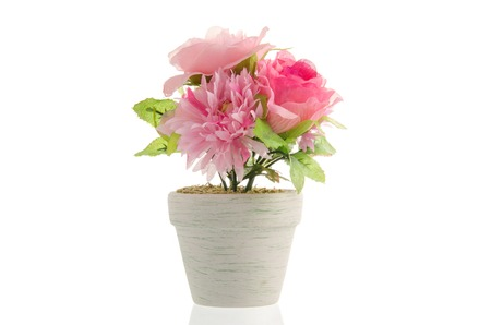 artificial flower pot isolated on white background stock photo