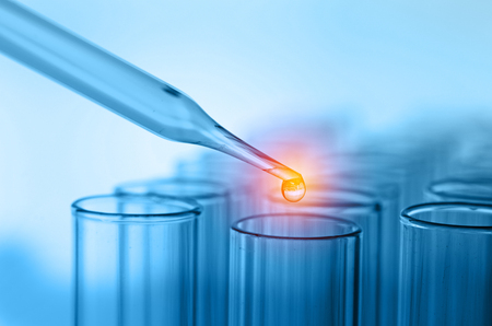 pharmaceutical bottle: science laboratory test tubes Stock Photo