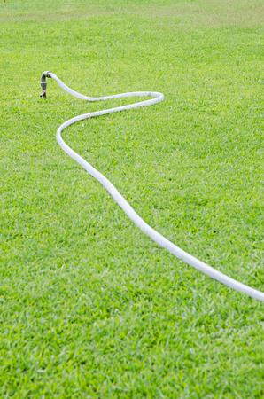 sprinkle system: watering in green grass field