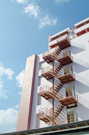 emergency stair: External fire escape staircase