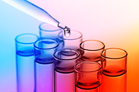 beakers: science laboratory test tubes Stock Photo
