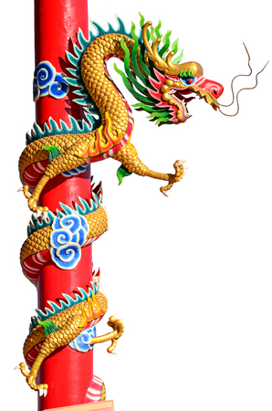 festival scales: Chinese style dragon statue on the rooftop of temple