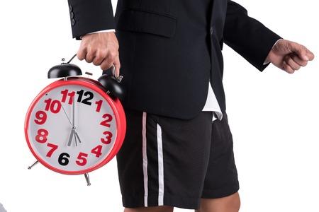 slacks: hurry working businessman forget to wear slacks off to work