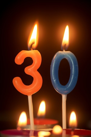 30 year old: birthday number anniversary candle : 30 year old Stock Photo