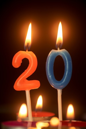 20 year old: birthday number anniversary candle : 20 year old