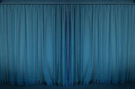 blue curtain: blue curtain stage for background Stock Photo