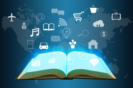 virtual world: open book with many icon on virtual world map screen , internet of things concept Stock Photo