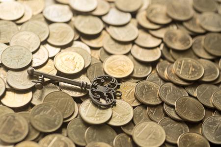 skeleton key: skeleton key lying on gold coins