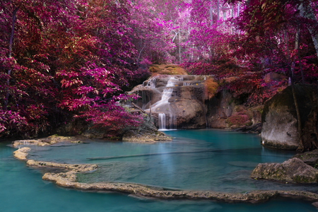 Change color technic of Waterfall in deep forest , Erawan waterfall National Park , Thailand