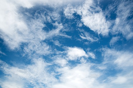 White clouds in blue sky for background