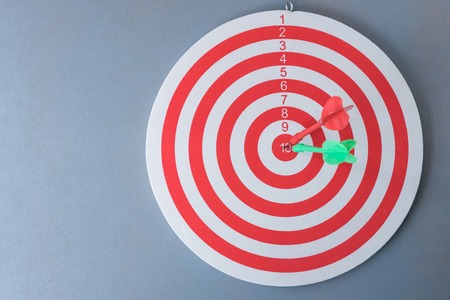 red centre: red and green darts hit on centre of dartboard