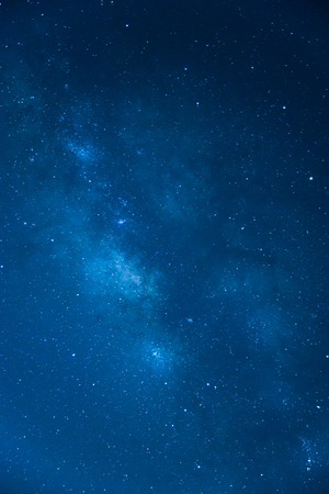 The Milky Way ,Long exposure photograph , Blue tone