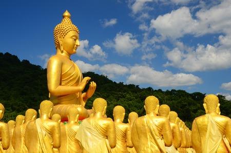 Many buddha statue in temple, Nakornnayok , Thailand