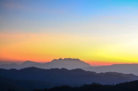 Sunrise at Mount Luang Chiang Dao. Location Chiang-Dao, Chiang Mai Thailand. Doi Luang Chiang-Dao Фото со стока