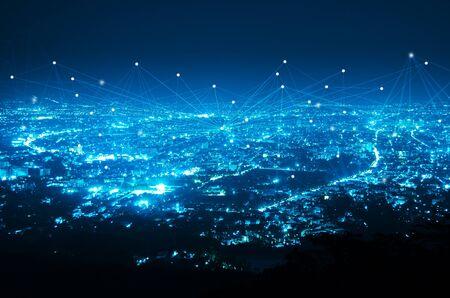 abstracte lijnverbinding op nacht stad achtergrond Stockfoto