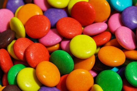 detail of colorful sweet chocolate pellets