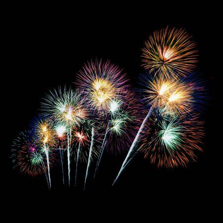 fireworks on black background Banco de Imagens