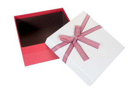 open red gift box isolated on white background