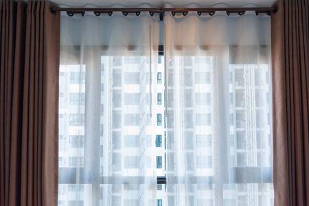 brown white curtain interior decoration