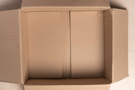 top view of an empty open parcel box