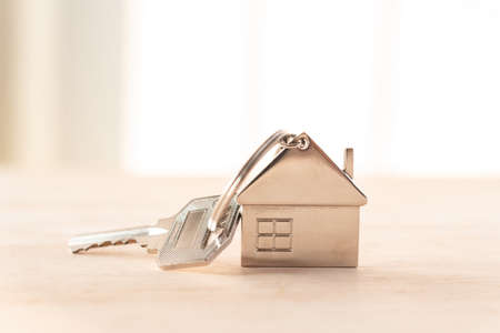 metal key house on wooden table Archivio Fotografico