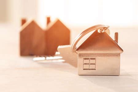 key house with wood house model background
