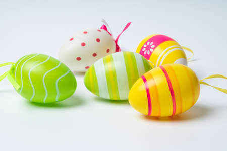 colorful easter eggs on white background Archivio Fotografico