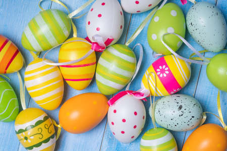top view of colorful easter eggs