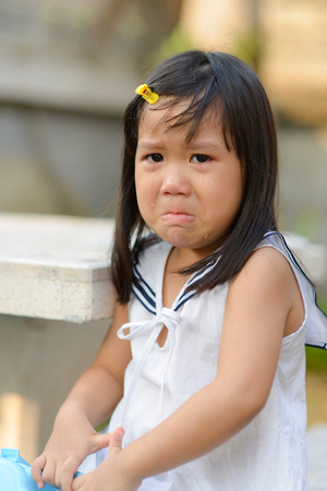 Cute Asian child crying  photo