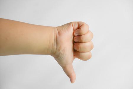 unlike: Little hand showing unlike symbol