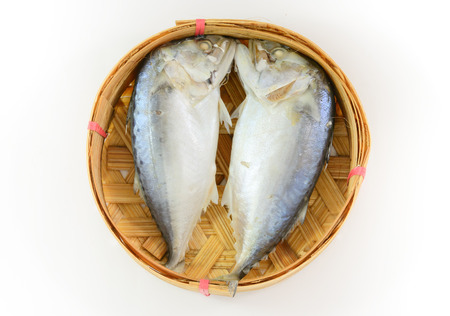 Mackerel steamed on bamboo basket  photo