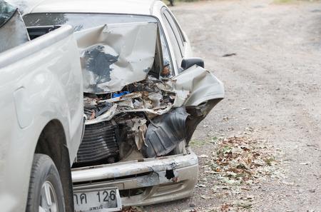 fender bender: Damaged vehicle after car accident Stock Photo
