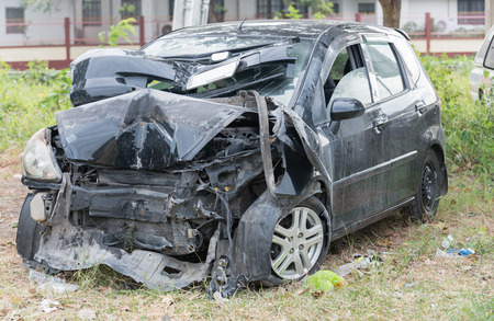 accident car: Damaged vehicle after car accident Stock Photo