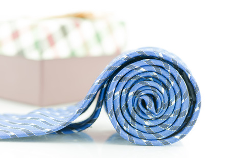 blue striped necktie on a white background Stock Photo