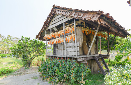 hayloft: wooden barn for keep Agricultural product in north of Thailand