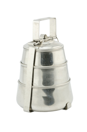 tiffin: Metal Tiffin, Food Container isolated on White Background