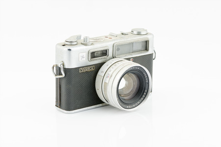 coupled: Lop Buri THAILAND  May 21 2015: Yashica Electro 35 is a rangefinder camera made by Japanese company Yashica from the mid1960s with a coupled and fixed 1:1.7 45 mm lens.