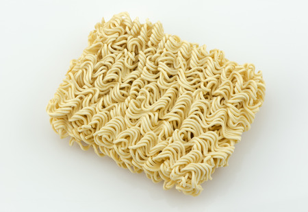 instant ramen: asian ramen instant noodles isolated on white background Stock Photo
