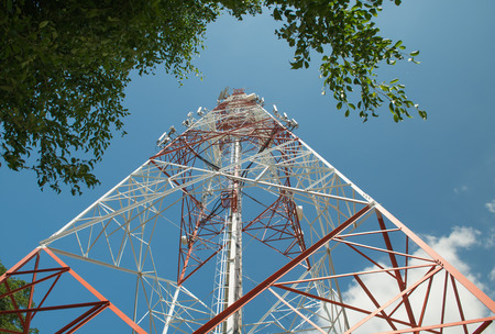 communication tower: communication tower on clound and blue sky. Stock Photo