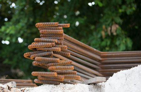 reinforcing bar: rust on Steel rebars on white soil