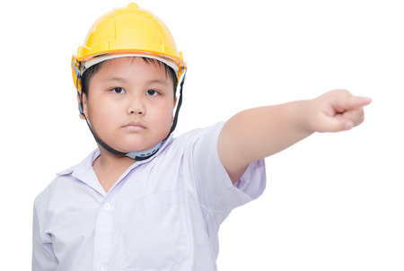 commands: fat boy engineer pointing hand to commands isolated on white