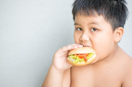 肥満の脂肪質の男の子の子供を食べる鶏チーズ ハンバーガー 写真素材