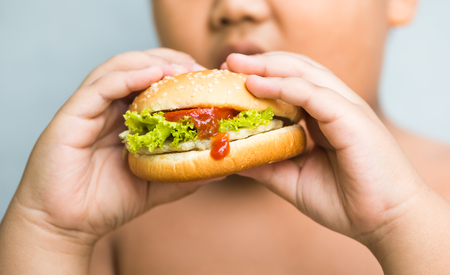 overweight kid: chicken cheese Hamburger in obese fat boy hand