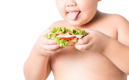 gordos: s�ndwich en grasas mano ni�o aislado en fondo blanco