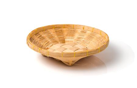 homeware: bamboo basket isolated on white background