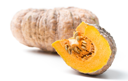infect: Sliced pumpkin is rotten isolated on white