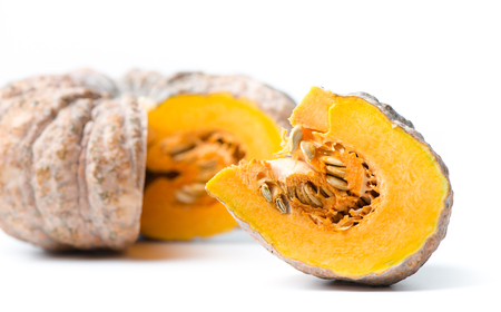 Sliced pumpkin is rotten isolated on white
